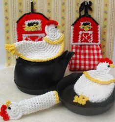 crochet rooster free patterns | ... :: Download Crochet Patterns :: Farmyard Kitchen Set Crochet Pattern