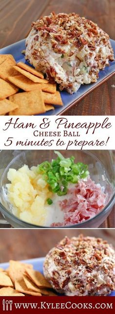Easy and fast to mix up, and place in the fridge for later. A great make ahead a… Easy and fast to mix up, and place in the fridge for later. A great make ahead appetizer, this Ham & Pineapple Cheese Ball is sure to please the majority of guests! Finger Food Appetizers, Appetizers For Party, Finger Foods, Appetizer Recipes, Cheese Appetizers, Easy Make Ahead Appetizers, Shower Appetizers, Dinner Recipes, Cheese Snacks