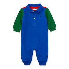 Color-Blocked Cotton Coverall - Baby Boy One-Pieces - RalphLauren.com