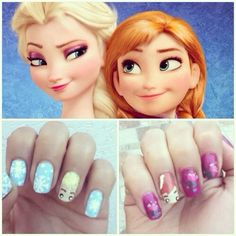 Image discovered by Kary Garcia. Find images and videos about nails, disney and frozen on We Heart It - the app to get lost in what you love. Frozen Nail Art, Frozen Nails, Funky Nails, Love Nails, Pretty Nails, Disney Nail Designs, Pretty Nail Designs, Disney Inspired Nails, Disney Nails