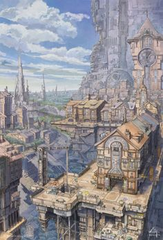 時計塔と千の柱の街 2009年3月製作 夕暮れの絵とセットで関西コミティア34(2009年5月24日開催)のカタログ表紙&裏表紙として描いたものです。