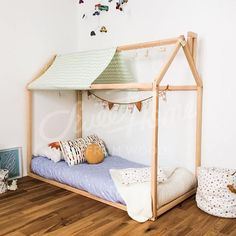 Toddler bed house is an amazing teepee bed for children where to sleep and play. This adorable house bed will make transitioning from a nursery crib to a toddler bed smoothly. Wooden bed is designed following Montessori furniture principles of independence – building, it saves you a lot of space in baby's room and you do not have to fear that your baby might roll out of the bed tent. It will be wonderful Christmas gift. MATERIAL: Bed is made from pine or birch wood (choose when ordering)…