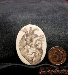 Valentine Scrimshaw - Scrimshaw Heart by Jason R. Webb