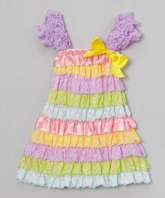 Purple Pastel Bow Ruffle Dress