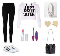 """""""Just do it later"""" by maximo-barbie ❤ liked on Polyvore featuring moda, Max Studio, adidas, Beats by Dr. Dre, Kate Spade, HoneyBee Gardens, Maybelline e Chloé"""