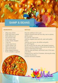 Samp and beans Veg Recipes, Slow Cooker Recipes, Indian Food Recipes, Vegetarian Recipes, Dinner Recipes, Cooking Recipes, Ethnic Recipes, South African Dishes, Kitchens