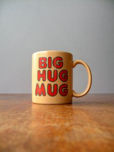 Vintage 80's FTD Big Hug Mug  True Detective by luola on Etsy... I will fill it with Lone Star & ashes