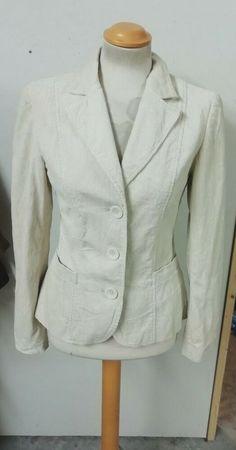 3ef75939723830 Details about Zara Ladies Ivory Corduroy Blazer Jacket Size Small UK