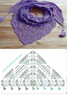 Best 12 Crochet hand made mini shawl azure sea – Artofit – Page 725220346221390428 – SkillOfKing. Crochet Shawl Diagram, Crochet Chart, Crochet Motif, Crochet Lace, Crochet Shawls And Wraps, Crochet Scarves, Crochet Clothes, Shawl Patterns, Crochet Stitches Patterns
