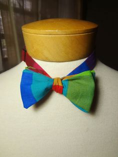 Self-Tie Bowtie Colorful Squares by BowMeAwayByAlexandra on Etsy