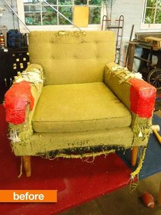 Before & After:  From Cat Scratcher to Purrfect Chair