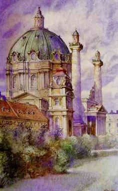 Karls-Church, Vienna, Aquarell, 1912, by Adolf Hitler