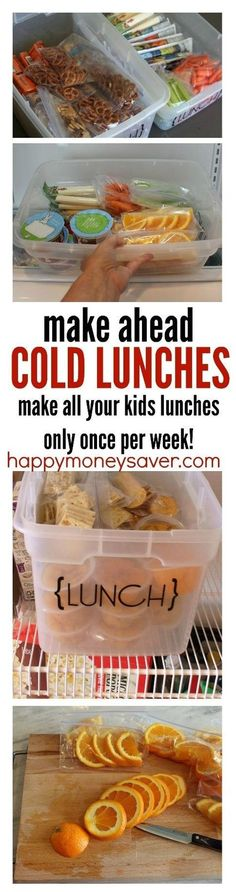 Awesome kids lunch ideas for helping save time. Make all your lunches in one day for the week and have your kids grab their own lunch and pack it easily each morning before school. I have done this method for years and it works!! No more cafeteria mystery hamburgers... :)