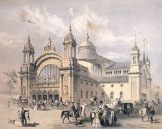 Exhibition Palace Fredericton, opened 1864 and burned on October 1877 Victorian Architecture, Amazing Architecture, New Brunswick, Wooden Buildings, Canadian History, Back In Time, Barcelona Cathedral, Palace