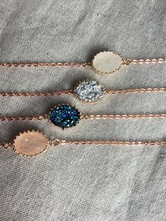 bridesmaid bracelet- This is a beautiful oval druzy bracelet in Rose gold with faux Druzys in silver, blue, dark grey, black, light blue, light green, white or pink in a