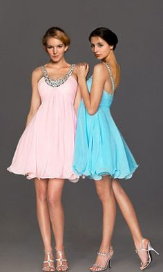 Glamorous A Line V-Neck Straps Empire Short Homecoming Cocktail Prom Dresses with Beaded Shoulder Strap P12Y10A1840