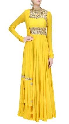 Yellow High Neck Anarkali Suit With Churidar Sleeves