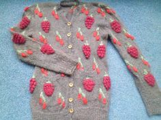 Iconic Patricia Roberts vintage cardigan grapes by redbeachgirl, £35.00