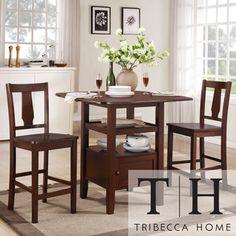 Tribecca Home Laurel Dark Walnut 3-piece Bistro Double Drop-leaf Counter Dining Set | Overstock.com Shopping - Big Discounts on Tribecca Home Pub Sets