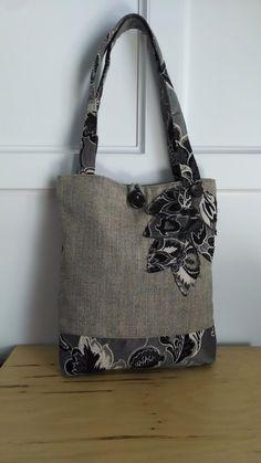 black tote bag brown purse floral handbag by BerkshireCollections, $47.00