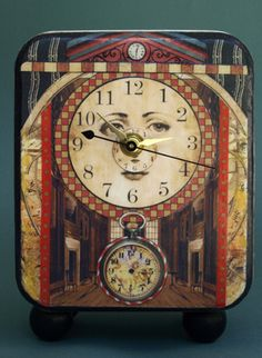 Clock Hourglass Time:  The Face of #Time (handcrafted & hand embellished, mixed media). Barbara Edidin.