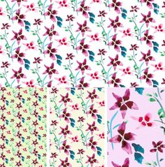Repeated Pink Flower Pattern Free PSD Template