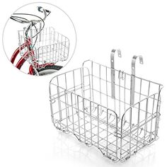 Chrome Finish Metal Bicycle Handle Bar Carrying Basket / Collapsible Travel Storage Bin ** To view further for this item, visit the image link.