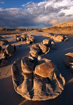 Cracked stone eggs in the Bisti Wilderness, New Mexico, USA Great Places, Places To See, Beautiful World, Beautiful Places, Statues, Travel Usa, Alaska Travel, Alaska Cruise, Land Of Enchantment