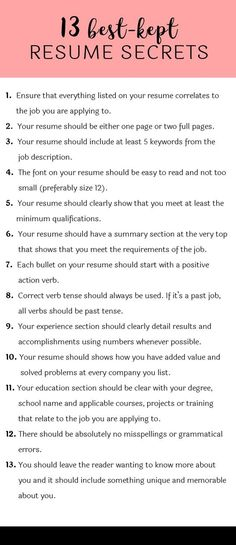 Best-Kept Resume Secrets Some hiring managers will toss your resume out if you don't know these 13 resume secrets.Some hiring managers will toss your resume out if you don't know these 13 resume secrets. Resume Help, Resume Tips, Resume Review, Cv Tips, Resume Ideas, Skills For Resume, Resume Writing Tips, Writing A Cv, Resume Work