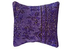 nuLOOM Vintage Handknotted Pillow, Royal Purple