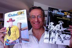 Fabio Civitelli e as duas versões da revista #2 do Clube Tex Portugal, com capas de sua autoria