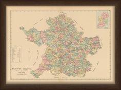 Map of County Meath, Ireland Ireland Map, Framed Maps, Irish, Vintage World Maps, Diagram, Art, Art Background, Irish Language, Kunst