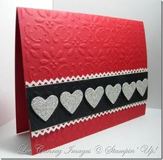 handmade Valentine card, design with clean lines, bright red base with embossing folder design, hearts punched from silver glitter paper Stampin' Up! Valentines Card Design, Valentine Love Cards, Handmade Valentines Cards, Valentine Ideas, Valentine Heart, Making Greeting Cards, Greeting Cards Handmade, Scrapbooking, Embossed Cards