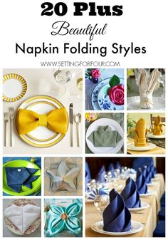 How to fold a napkin - 20 Plus Beautifu Napkin Folding Styles to decorate your table for Holidays, Weddings and Everyday Home! See how fun diy napkin folding is at www.settingforfour.com