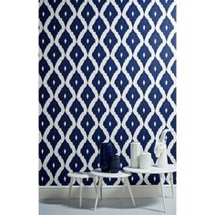 Feeling bold? Create an accent wall featuring contemporary Ikat patterned wallpaper.