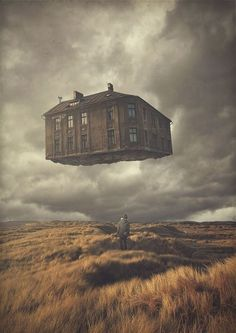 Dream Imagination surreal art by Michael Vincent Manalo house in the sky man on the field Surreal Photos, Surreal Art, Photographs, Pablo Picasso, Planeta Nibiru, Surrealism Painting, Foto Art, Pictures To Paint, Photo Illustration