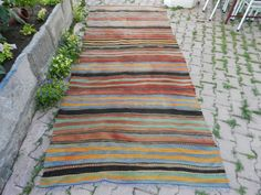 Vintage Turkish Kilim Rug 4'6 x 10'9 Handwoven Turkish Rug Vegetable dyes Bohemian Rug Handmade Kilim Rug Stripe Kilim Rug