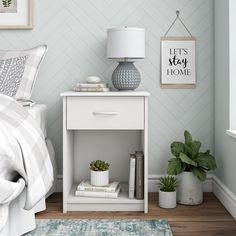 Mainstays Classic Bedroom Nightstand with Drawer, White Decor, Mid Century Modern Nightstand, Bedroom Essentials, Classic Bedroom, Simple Bedroom, Bedroom Decor, Home Decor, Bedroom Night Stands, Room Decor
