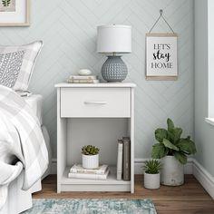 Mainstays Classic Bedroom Nightstand with Drawer, White My New Room, My Room, White Nightstand, Nightstand Ideas, Lets Stay Home, Bedroom Night Stands, Night Stand Decor, Teen Girl Bedrooms, Blue Bedrooms
