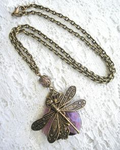 Whispering Wings - Light Amethyst Vintage Glass Jewel with Dragonfly. $42.00, via Etsy.