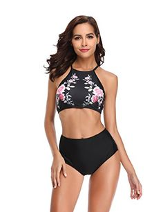 1341bdab549 LALAVAVA Womens High Waisted Bikini Set Halter Floral Print Two Piece  Swimsuits Modest Swimsuits, Two