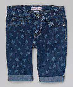 This Crystal Vogue Medium Blue Wash Star Bermuda Shorts - Girls by Crystal Vogue is perfect! #zulilyfinds