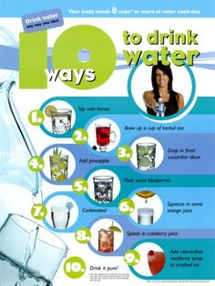 10 Ways to Drink Water: 1. Top with lemon 2. Brew up a cup of herbal tea 3. Drop in fresh cucumber slices 4. Add pineapple 5. Float some blueberries 6. Squeeze in some orange juice 7. Carbonated 8. Splash in cranberry juice 9. Add calorie-free raspberry syrup to crushed ice 10. Drink it pure! #weightlossrecipes