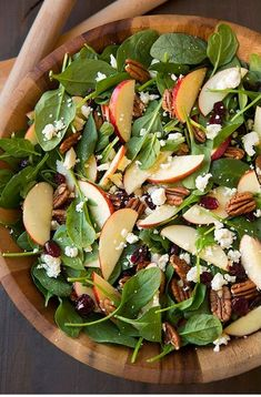 Apple Pecan Feta Spinach Salad with Maple Cider Vinaigrette - Cooking Classy Healthy Recipes, Fall Recipes, New Recipes, Cooking Recipes, Healthy Recipes, Delicious Recipes, Simply Recipes, Vegetarian Cooking, Rice Recipes, Cooking Tips