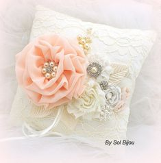 Wedding Ring Pillow Coral Peach Ivory Lace Ring Holder with Pearls Gatsby Vintage Wedding This heirloom ring bearer pillow displays shades of coral and ivory. It is the perfect accessory for your special day, and it will make a gorgeous decor piece for your bedroom after the wedding! The