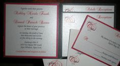 SAMPLE Pocketfold Wedding Invitation  Red and Black by CartesAmour, $6.00