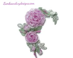 Ribbonwork Antique  Applique Brooch Pin Pink by lambsandivydesigns, $26.95