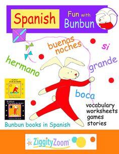 Learning Spanish for Kids Workbook- Spanish Fun with Bunbun Spanish Worksheets, Vocabulary Worksheets, Worksheets For Kids, Spanish Flashcards, Kindergarten Readiness, Preschool Kindergarten, Kindergarten Worksheets, Rhyming Words, English Vocabulary Words