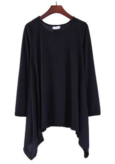 Black Plain Irregular Long Sleeve Cotton Blend Dress