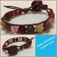 Boho Chic Leather-wrapped bracelet with assorted gemstones